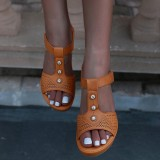 Women Hollow Out Rhinestone Breathable Hook Loop Peep Toe Summer Casual Wedge Sandals