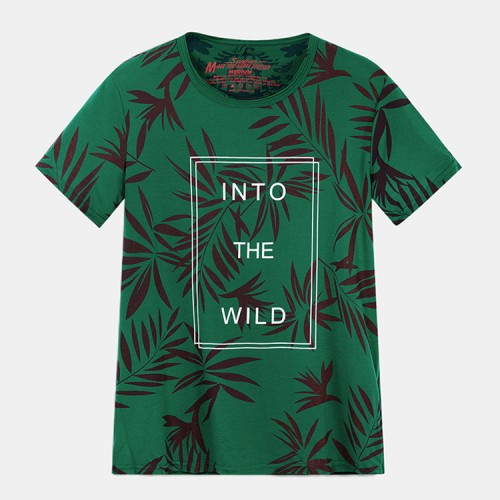 Mens Letter Printing 100% Cotton Crew Neck Short Sleeve Casual T-Shirts
