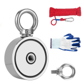 75mm Double Side Fishing Magnet with 10/20 Meters Rope and Glove 500kg Pulling Force Super Strong Neodymium Magnet with Heavy Duty Rope for Magnet Fishing and Retrieving in River
