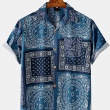 Mens Ethnic Style Printing Short Sleeve Turn Down Collar Casual Shirts