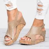 Women Rivet Open Toe Slingback Hook Loop CasualSummer Platform Wedge Sandals