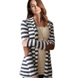 Women Stripe Patchwork Open Front Loose Cardigans Coats