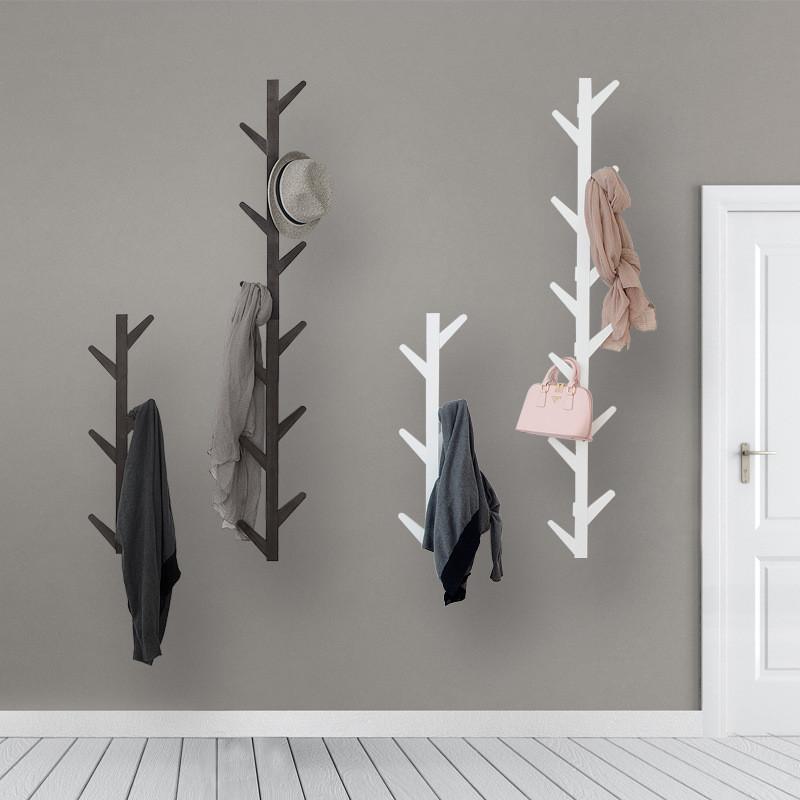 6/10 Hooks Coat Rack Wall Solid Wood Wall Hanging Living Room Bedroom Decorative Cloth Hanger Rack All Hat Rack Bamboo Furniture