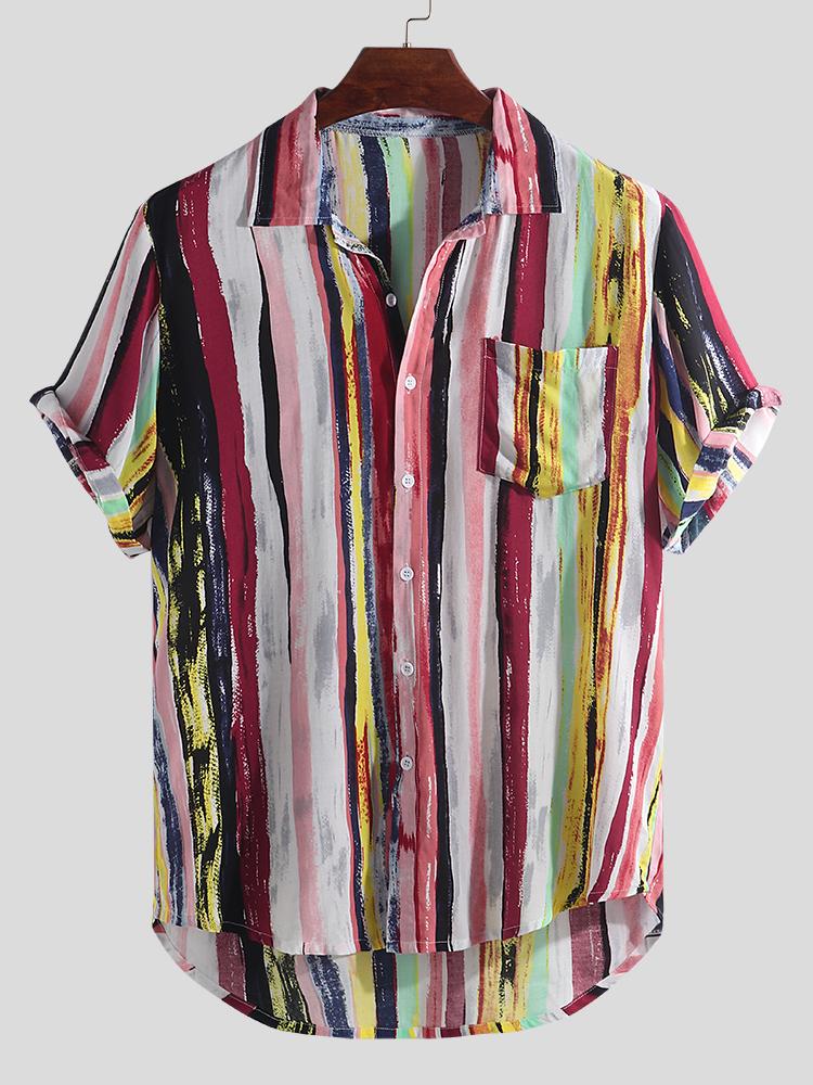 Mens Stripe Printing Graffiti Practical Pocket Short Sleeve Summer Shirts