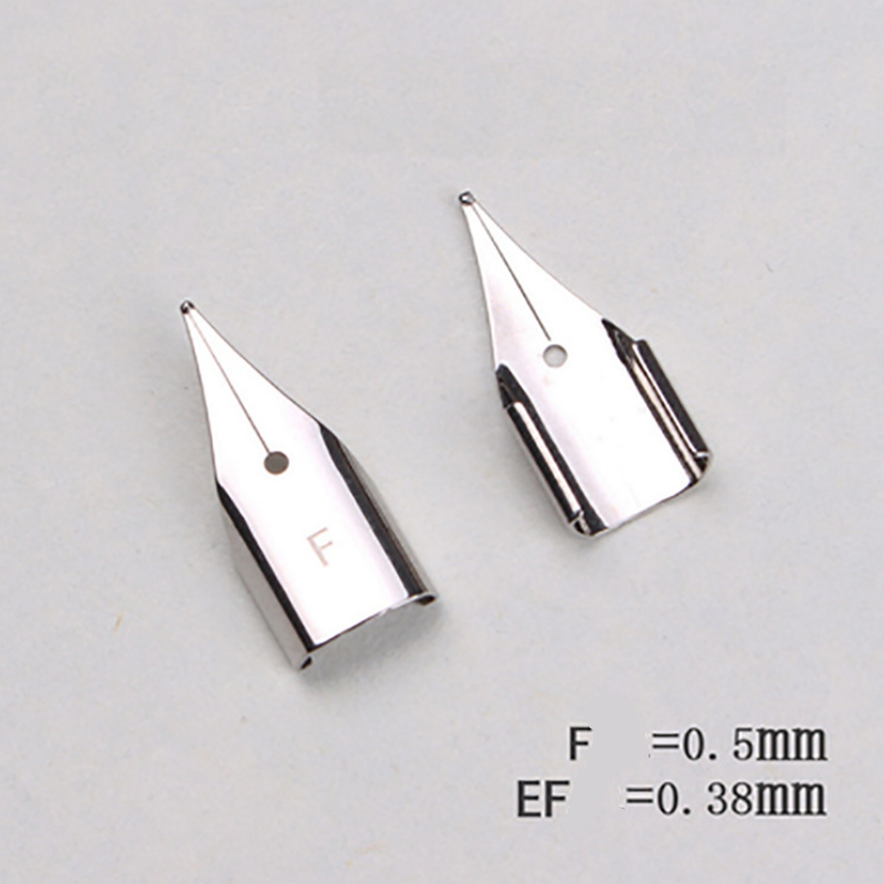 0.38mm/0.5mm Stainless Steel Silver Pen Nib Replacement EF/F Fountain Pen Nib for Student Fountain Pen