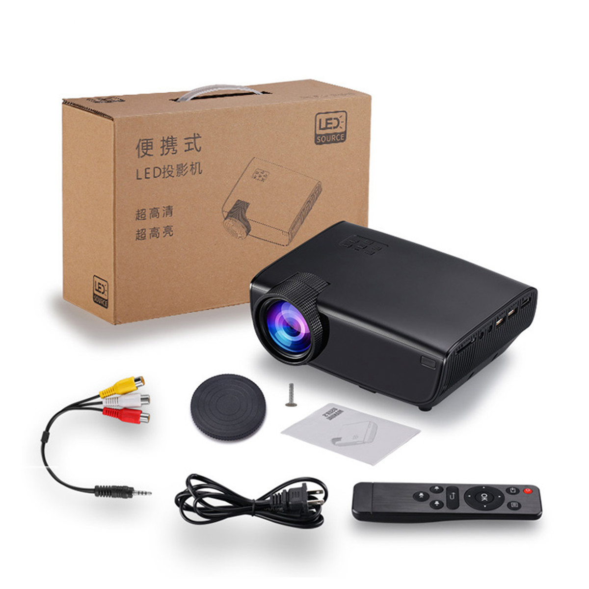 AN05 LCD Projector 70 ANSI Lumens 3.5mm Audio 800*480 Pixels HDMI USB Mini LED Projector Wireless Wifi Home Theatre Media Player Pico Projector