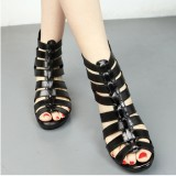 Women Hollow Out Peep Toe Black Summer Wedge Sandals
