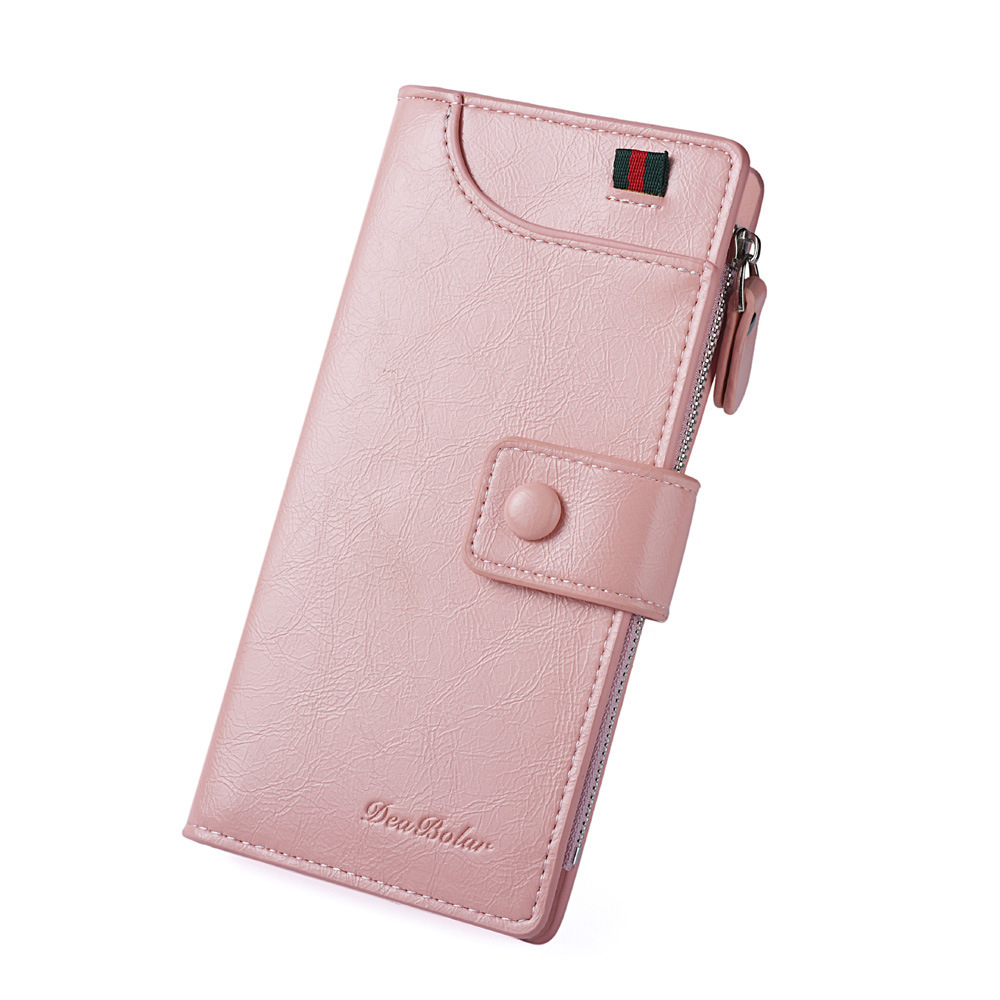 Casual Zipper Buckle PU Leather Multi Card Slots Holder Phone Coin Long Wallet Women Purse Clutch Bag