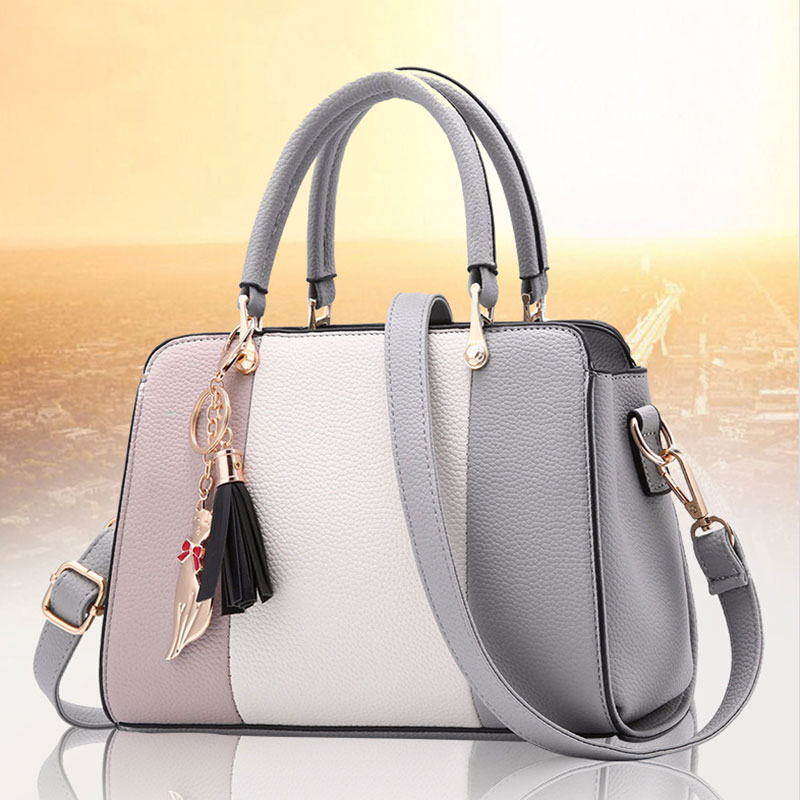 Stitching PU Leather Designer Purses and Handbag Casual Shoulder Bag Warm Sweet Tote with Tassels for Women Daily