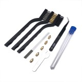 Heated Bed Nozzle Cleaning Brush Set + Curved Nose Tweezers + 0.4mm Nozzle Cleaning Needle*5pcs + 0.4mm Nozzle*5pcs Kit for 3D Printer