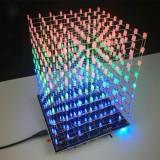 DIY 3D Light Cube Kit 8x8x8 LED Built-in MP3 Music Spectrum 3W Speaker Amplifier
