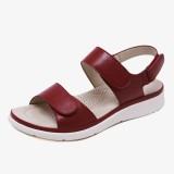 Women Soft Sole Hook Loop Solid Color Comfy Summer Beach Flat Sandals