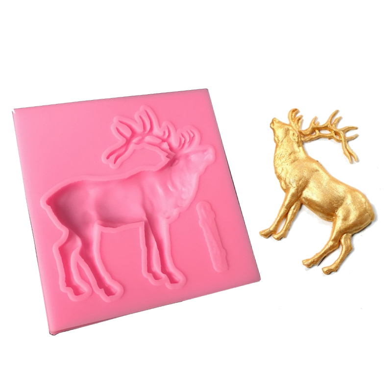 DIY Christmas Elk Shape Fondant Silicone Mold Cookies Chocolate Mould Party Kitchen Baking Decorating Tools Soap Candle Molds