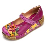 Women Genuine Leather Folkways Vintage Flowers Hook Loop Summer Platform Wedge Sandals