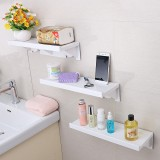 Plastic Toilet Suction Wall Storage Suction Cup Bathroom Shelf Free Punching Washing Table