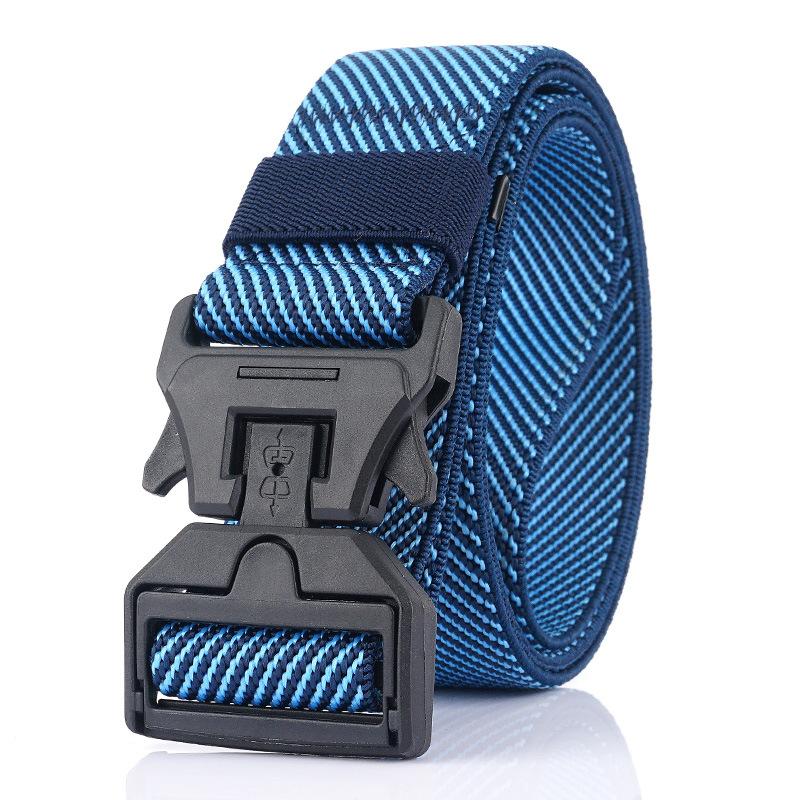 AWMN 125CM 3.8 Width Magnetic Buckle Leisure Canvas Waist Belt Quick Unlock Long Belt Men's Elastic Tactical Belt