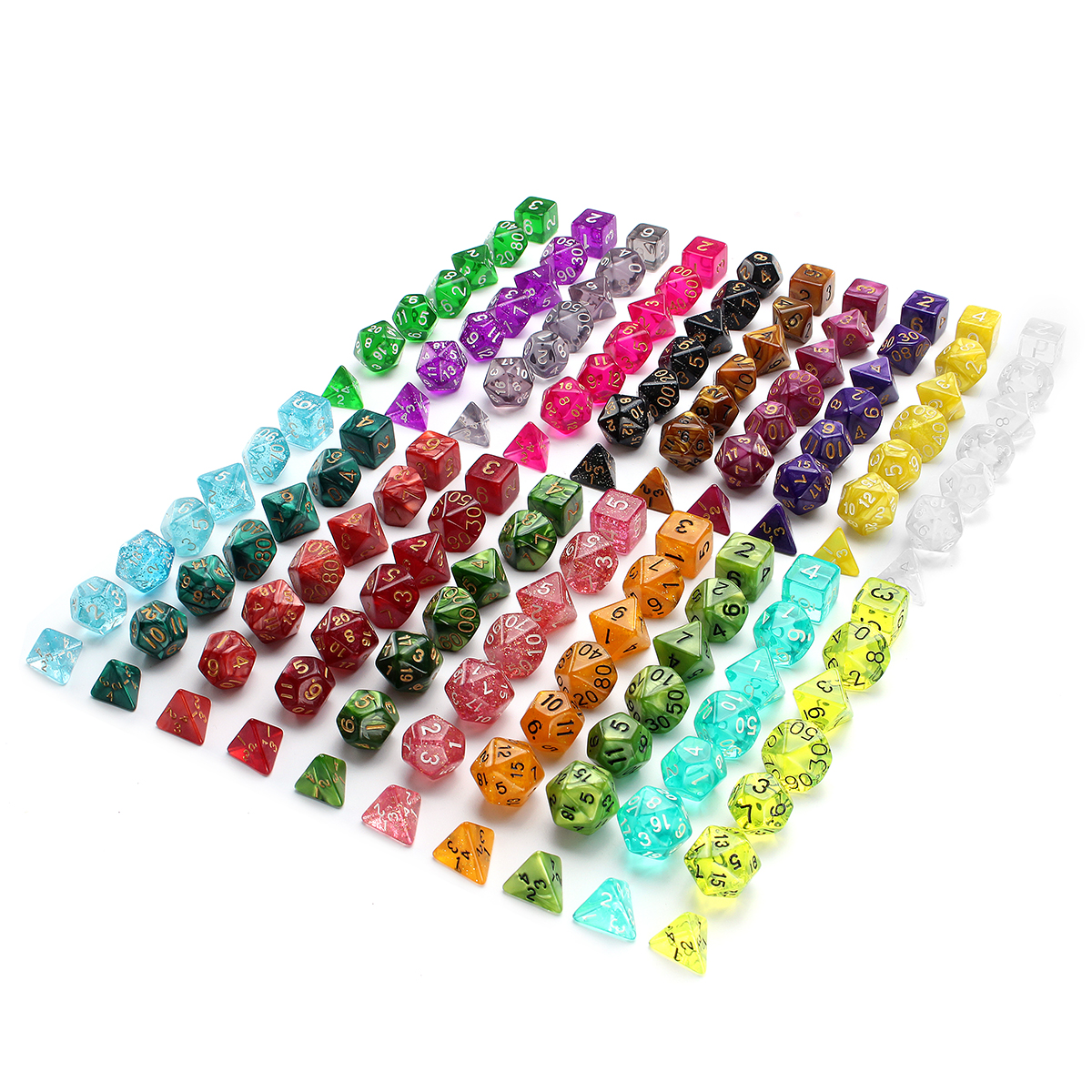 140Pcs/280Pcs Polyhedral Dices for Dungeons & Dragons Desktop Games With Storage Bags