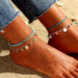 Bohemian Multi-layered Tassel Round Pendant Anklet Turquoise Beaded Anklet Ethnic Jewelry for Women