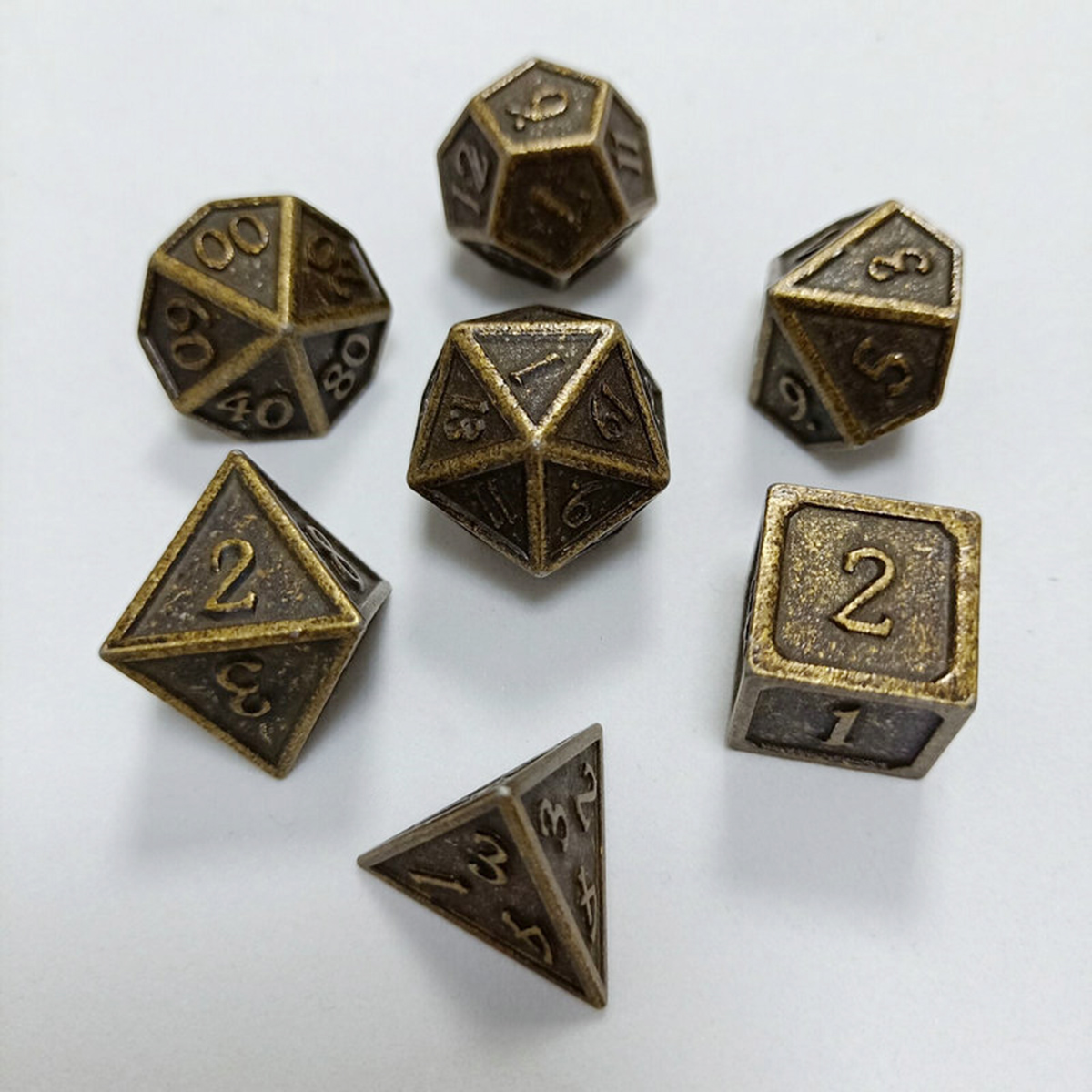 7Pcs Metal Polyhedral Dice DnD RPG TRPG Games Dices SET With Storage Bag