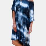 Short Sleeve O-neck Tie Dye Mini Print Dress
