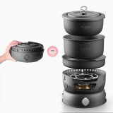 ALOCS CW-C05 10PCS/Set 2-4 Person Outdoor Cookware Camping Alcohol Cooking Stove Cook Set for Camping Hiking Picnic Stove with Gripper Pot