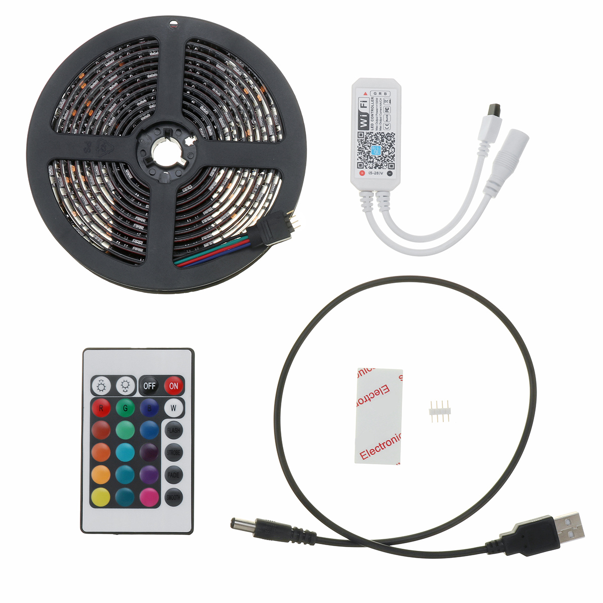 1M 2M 3M USB Waterproof IP65 RGB 5050 WIFI LED Strip Light Kit With 24 Key Remote Control DC5V