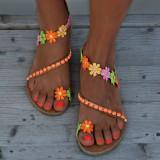 Women Bohemian Flower Decoration Bead Slip On Clip Toe Summer Beach Flat Sandals