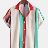 Mens Multi Color Stripe Short Sleeve Breathable Casual Shirts