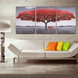 3Pcs Large Red Tree Canvas Print Art Paintings Picture Modern Home Decor