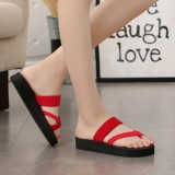 Women Clip Toe Solid Color Casual Home Wedge Slippers
