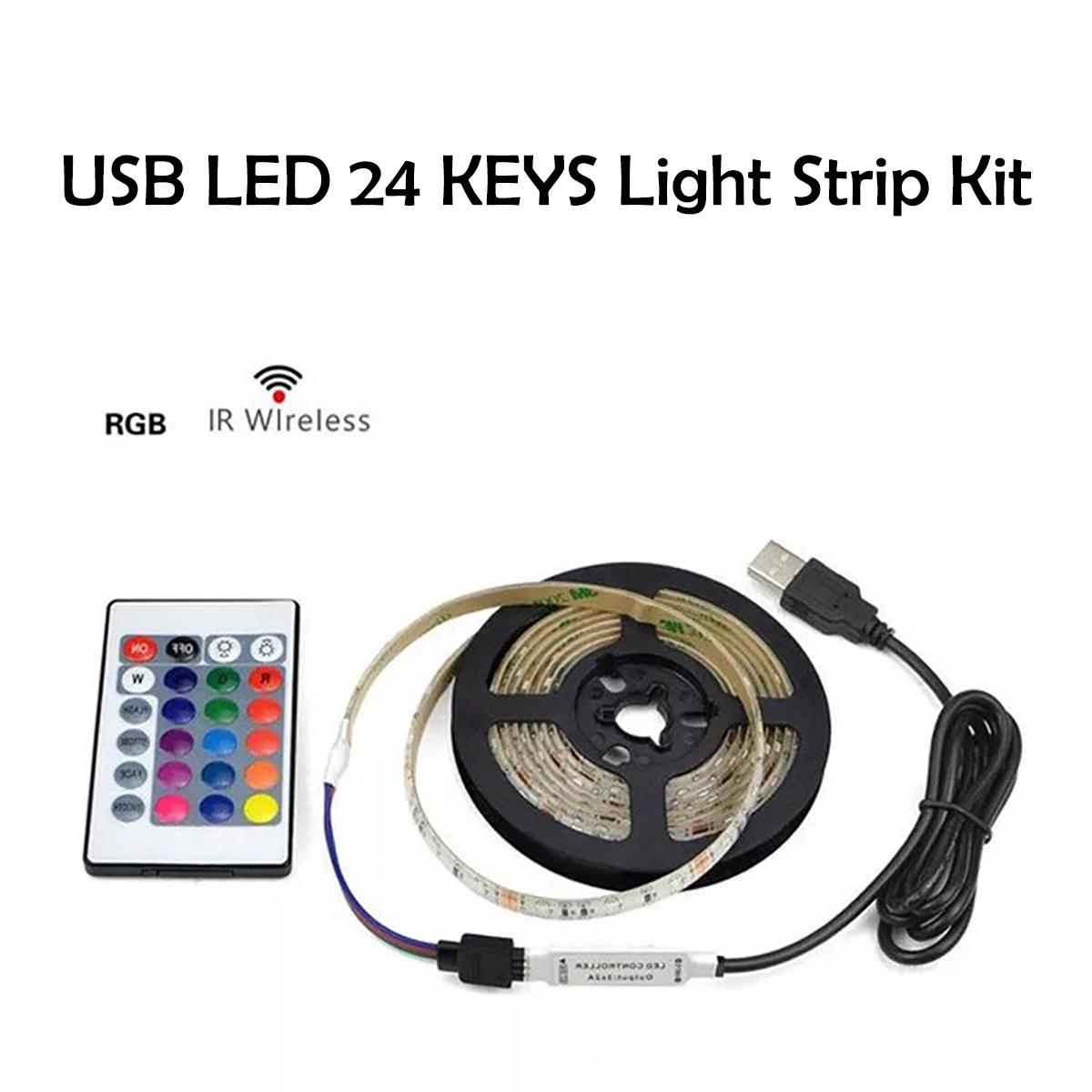 1M 2M 3M 5V 5050 USB RGB Waterproof LED Strip Light Bar TV Back Lighting + 24 Keys Remote Control