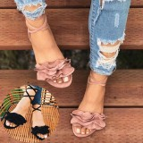 Women Plus Size Strappy Solid Color Lace Up Fashion Summer Beach Causal Flat Sandals