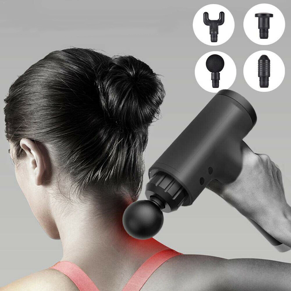2500mAh Electric Percussive Massager 3600r/min 6 Speeds Deep Tissue Muscle Vibrating Therapy Device with 4 Heads