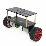 2Wd Double Layer Balance Chassis Smart Robot Car DIY Kit 65mm Plastic Wheel/Black Aluminum Panel