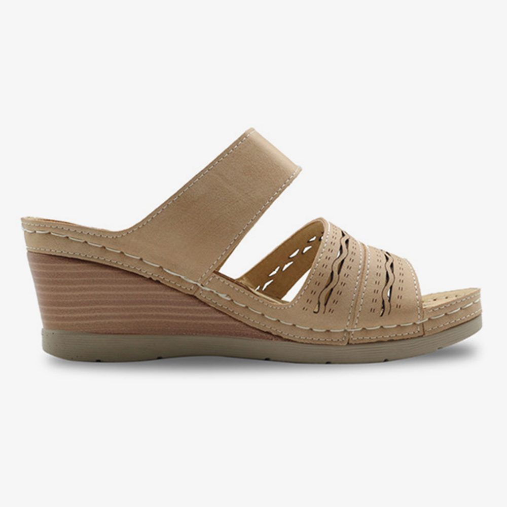 Women Hollow Out Breathable Adjustable Hook Loop Open Toe Summer Casual Wedge Sandals