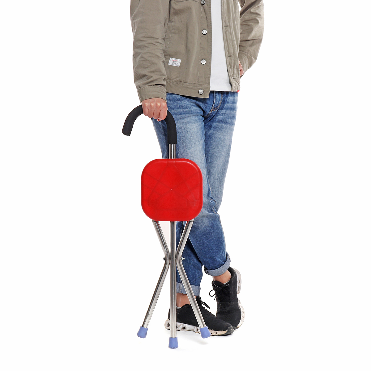 Foldable Elderly Care Walking Cane Stick 2 in 1 Chair Four djustable Cane Chair Stool Seat Portable CrutchLegs Folding Chair
