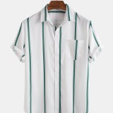 Mens Stripe Fashion Practical Pocket Short Sleeve Casual Shirts