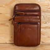 Genuine Leather Waist Bag Multi-pocket Belt Bag Phone Bag Shoulder Bag For Men