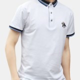 Mens Fashion Solid Color Short Sleeve Turn Down Collar Casual Tops