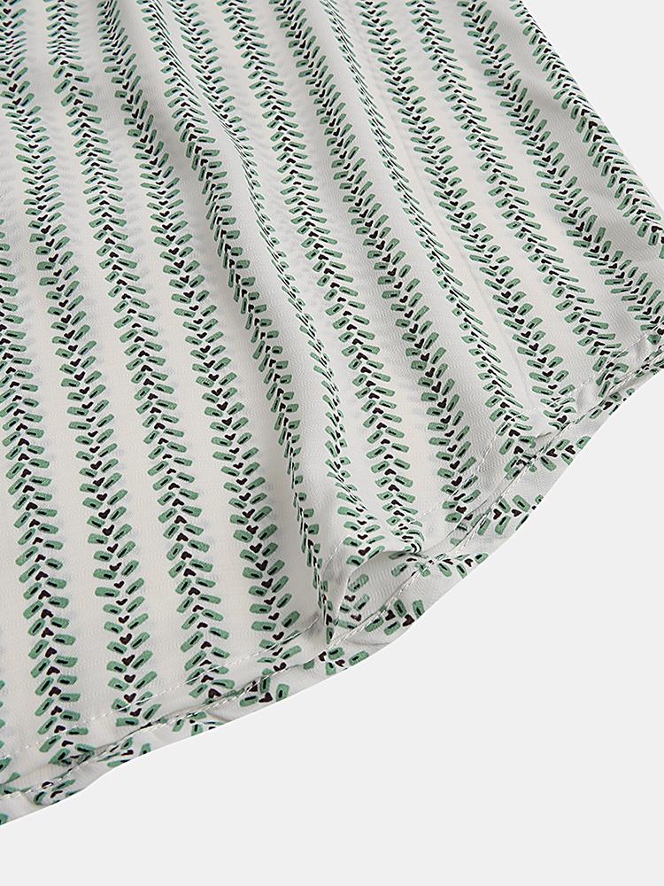 Mens Fashion Summer Stripe Pocket Breathable Short Sleeve Casual Shirts