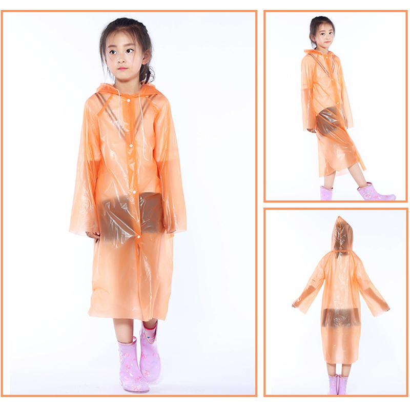 PEVA Children Raincoat Camping Travel Thicken Disposable Raincoat Poncho