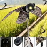 Realistic Plastic Bird Scarer Dynamic Moving Wings Realistic Owl Decoy Pest Repellent Bird Scarer Outdoor Decoration Garden Yard Decor