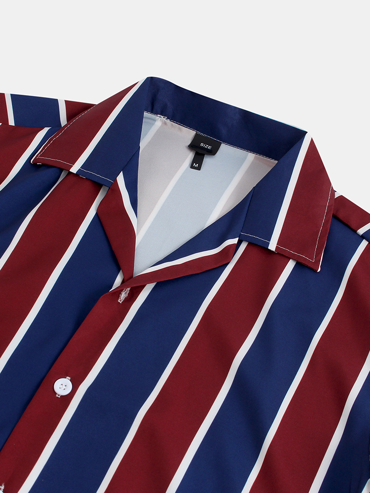 Mens Summer Stripe Breathable Short Sleeve Casual Shirts