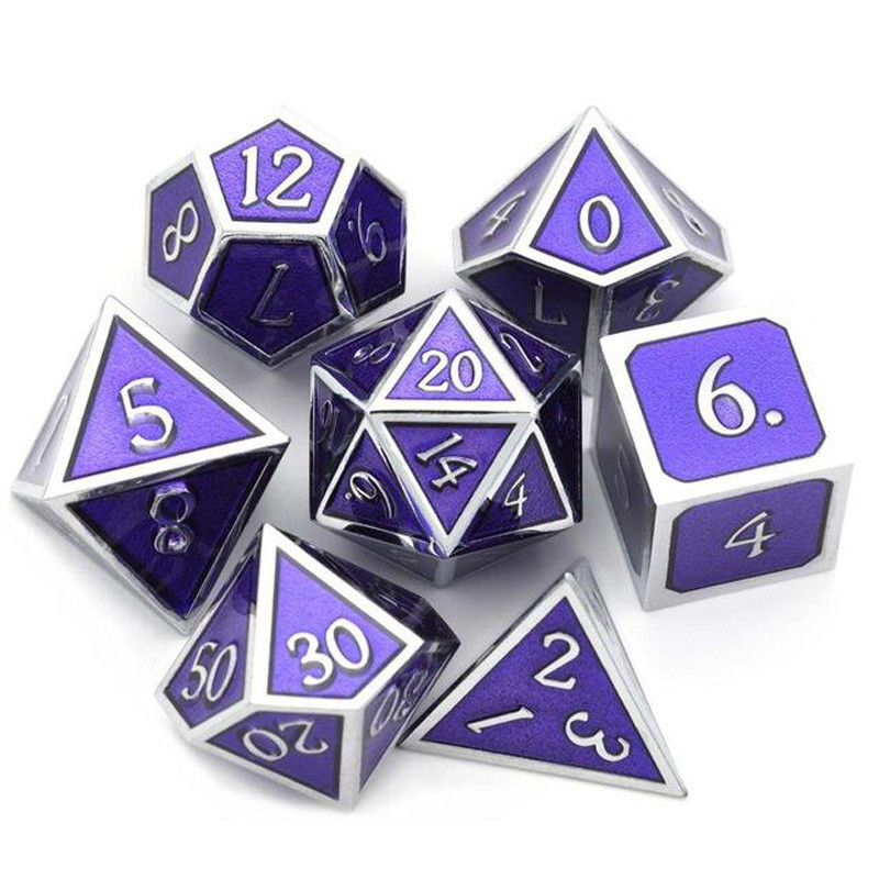 7Pcs/Set Alloy Metal Dice Set Playing Games Poker Card Dungeons Dragons Party Board Game Toy