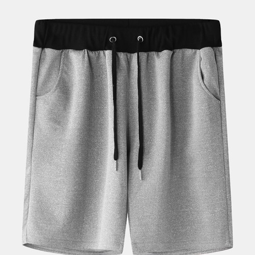 Men Casual Color Block Elastic Waist Drawstring Pocket Home Shorts