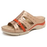 LOSTISY Women Hollow Out Color Splicing Soft Sole Comfy Summer Beach Wedge Sandals