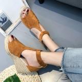 Women Espadrilles Plus Size Open Toe Buckle Summer Platform Wedge Sandals