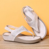 Women Soft Sole Clip Toe Rhinestone Hook Loop Casual Summer Beach Wedge Sandals