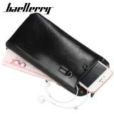 Baellerry Men Faux Leather Long Phone Bag Zipper Wallet Card Holder Clutches Bag
