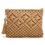 Clutch Purses for Women Tassel Straw Handbag Vintage Handwoven Bag Summer Beach Bag